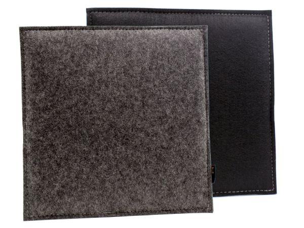 Coussin d'assise réversible en feutre carré en gris foncé noir