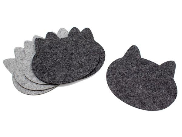 Topfuntersetzer aus Filz in Katzenform, 6er Set, graumeliert und dunkelgrau