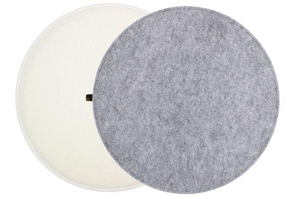 Coussin de siège en feutre rond en gris et blanc crème